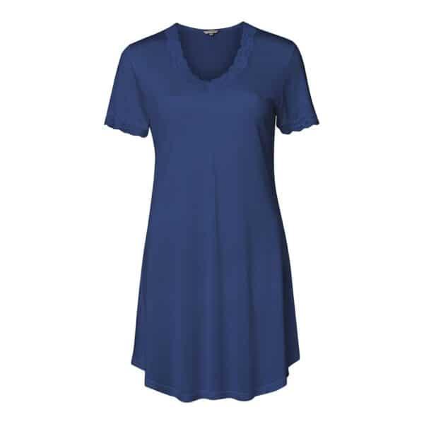 blå silke natkjole kort ærme