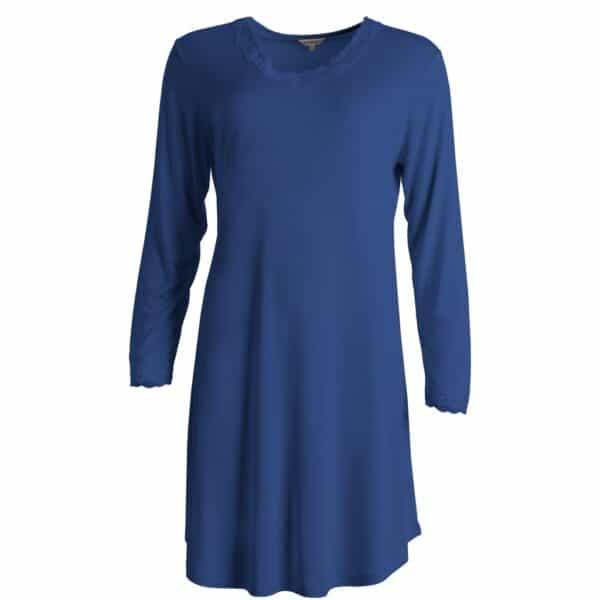 blå silke natkjole langt ærme
