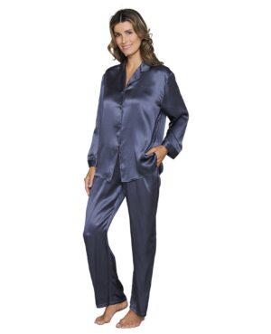 blå silke pyjamas