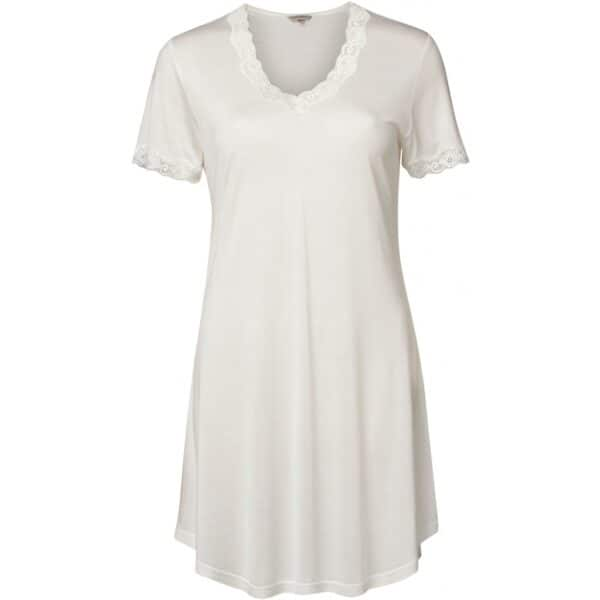 hvid silke natkjole kort ærme