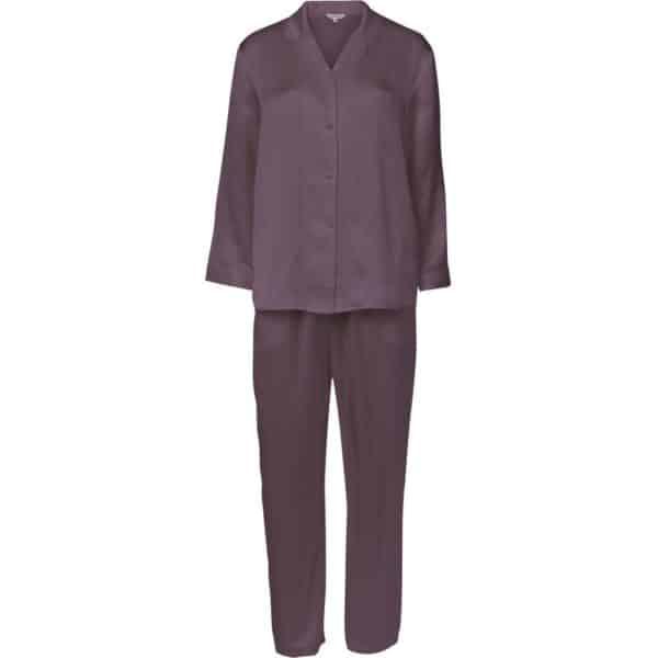 lilla aubergine silke pyjamas