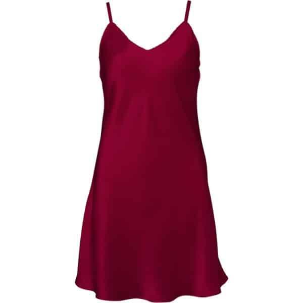 rød silkeunderkjole