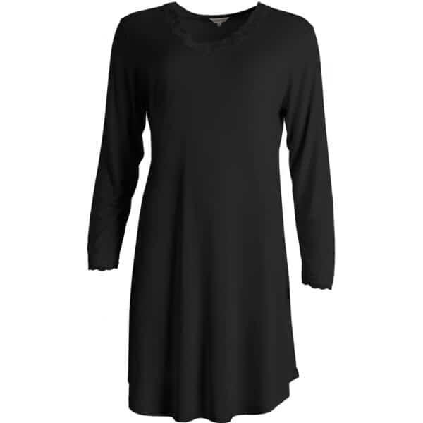 sort silke natkjole langt ærme