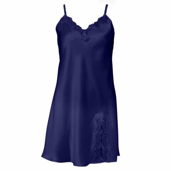 blå silke underkjole blonde