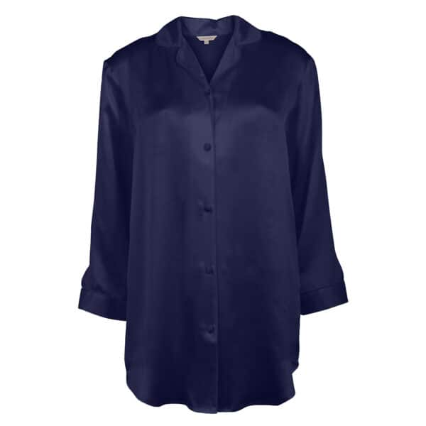 blå silkenatskjorte