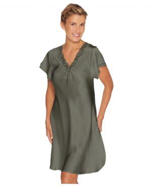 grøn olive silkenatkjole blonde