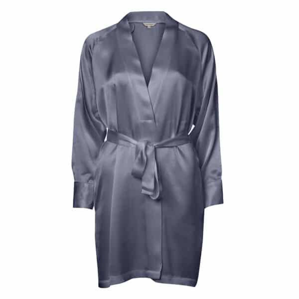 dueblå kort silke kimono
